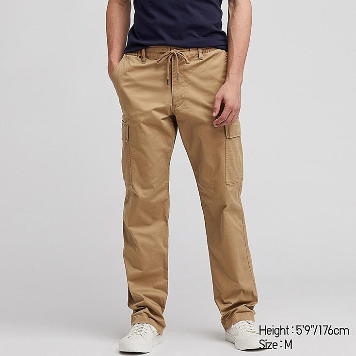 MEN PULL ON RELAXED CARGO PANTS, BROWN, large