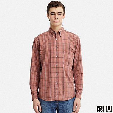 MEN U WIDE-FIT CHECKED LONG-SLEEVE SHIRT, BROWN, medium