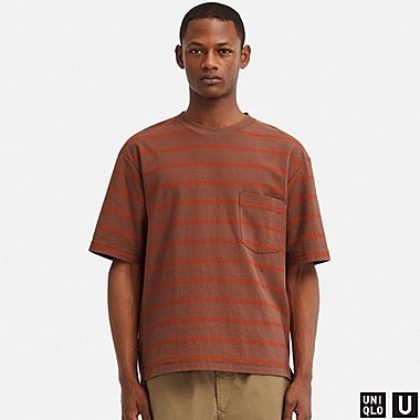MEN UNIQLO U OVERSIZED STRIPED CREW NECK T-SHIRT