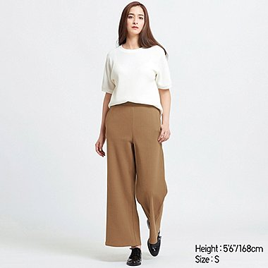 WOMEN COTTON RIBBED WIDE PANTS, BROWN, medium