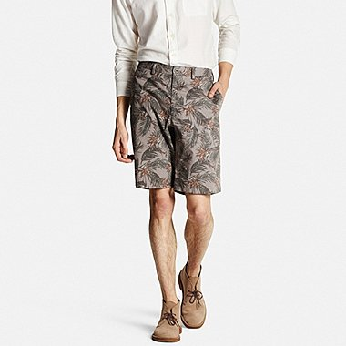 Men Chino Patterned Shorts, BROWN, medium
