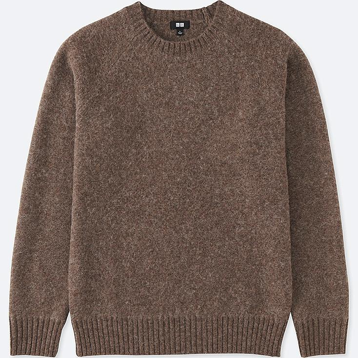 MEN BOILED WOOL CREWNECK SWEATER, BROWN, large