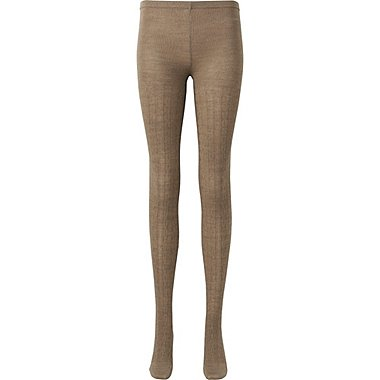 WOMEN HEATTECH KNITTED TIGHTS (CABLE), BROWN, medium