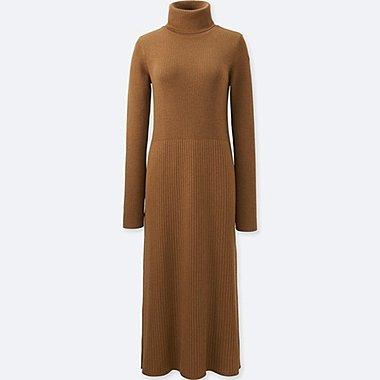 WOMEN KNIT RIBBED TURTLENECK DRESS, BROWN, medium