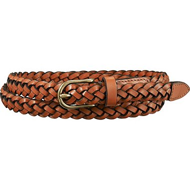 WOMEN MESH SKINNY BELT, BROWN, medium