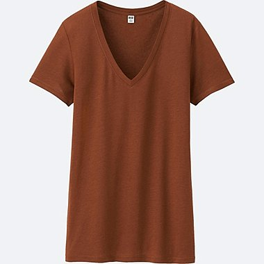 WOMEN Modal Linen V Neck Short Sleeve T-Shirt