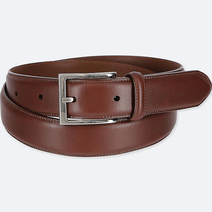 MEN ITALIAN LEATHER STITCHED BELT, BROWN, large