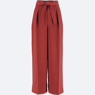 WOMEN HIGH WAIST RIBBON WIDE LEG TROUSERS