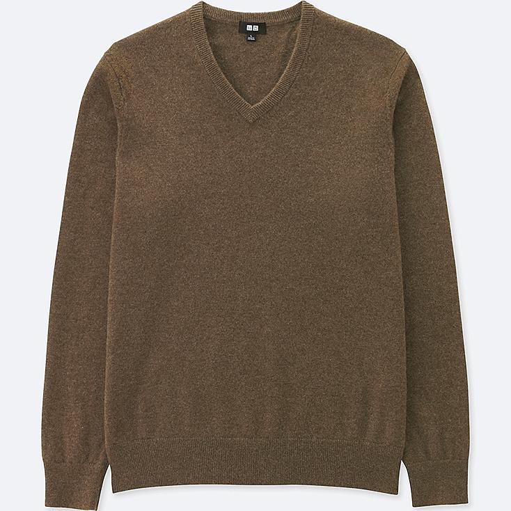 MEN CASHMERE V NECK LONG SLEEVED JUMPER