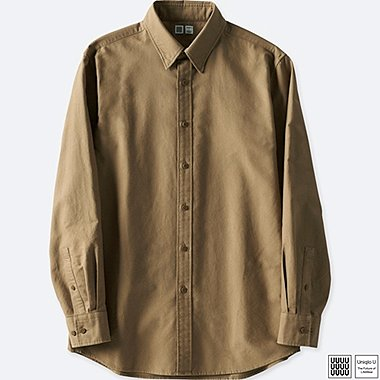 MEN U OXFORD LONG-SLEEVE SHIRT, BROWN, medium