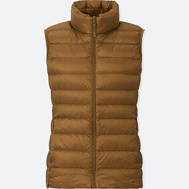 Women Ultra Light Down Vest, BROWN, medium