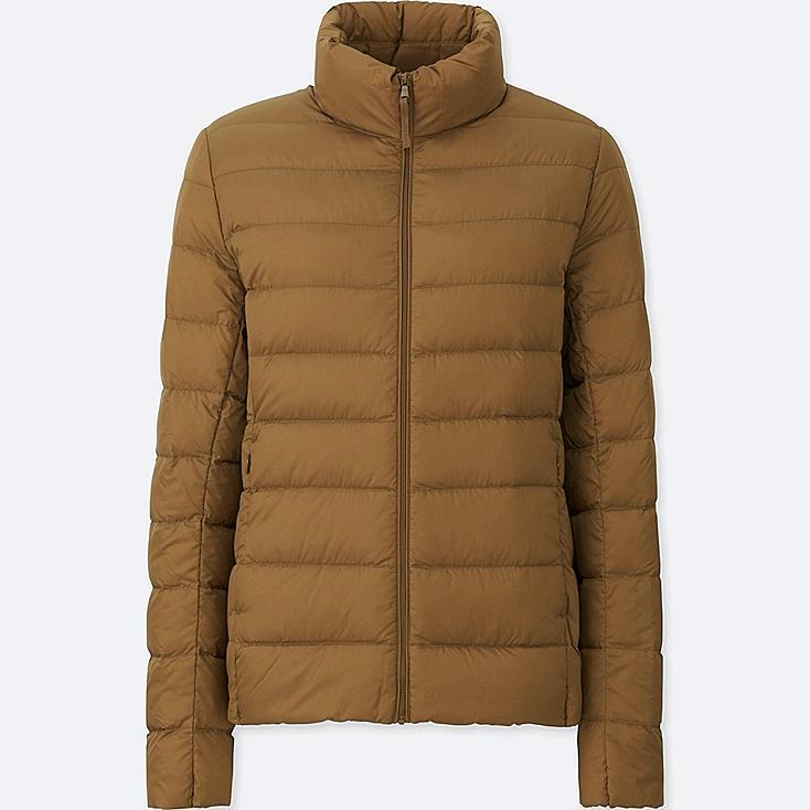 Women Ultra Light Down Jacket, BROWN, large