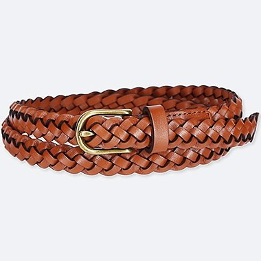 WOMEN LEATHER WOVEN SKINNY BELT