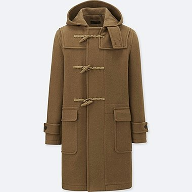 MEN WOOL-BLENDED DUFFLE COAT, BROWN, medium