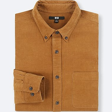MEN CORDUROY LONG-SLEEVE SHIRT (ONLINE EXCLUSIVE), BROWN, medium