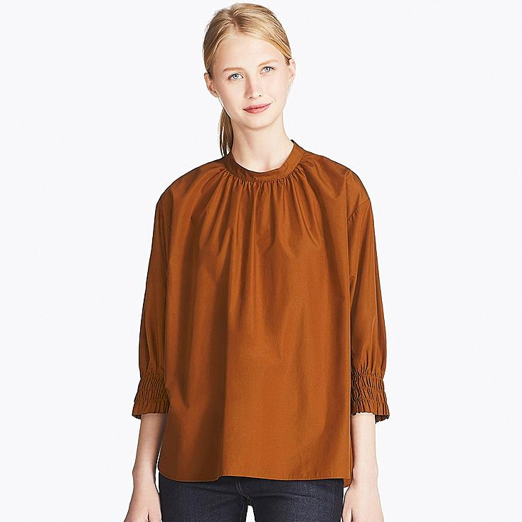 WOMEN EXTRA FINE COTTON 3/4 SLEEVE GATHERED BLOUSE, BROWN, large