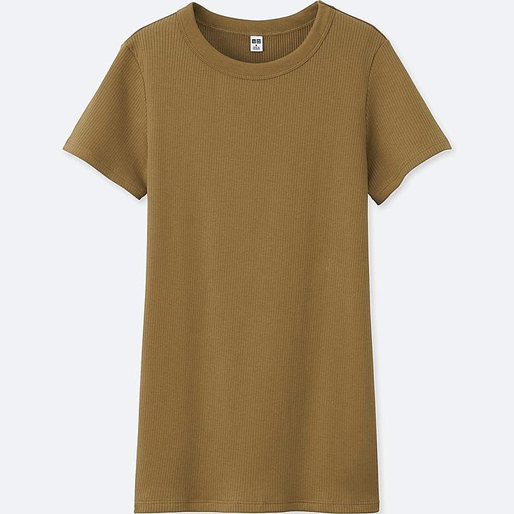 WOMEN SUPIMA COTTON RIBBED CREW NECK SHORT-SLEEVE T-SHIRT, BROWN, large