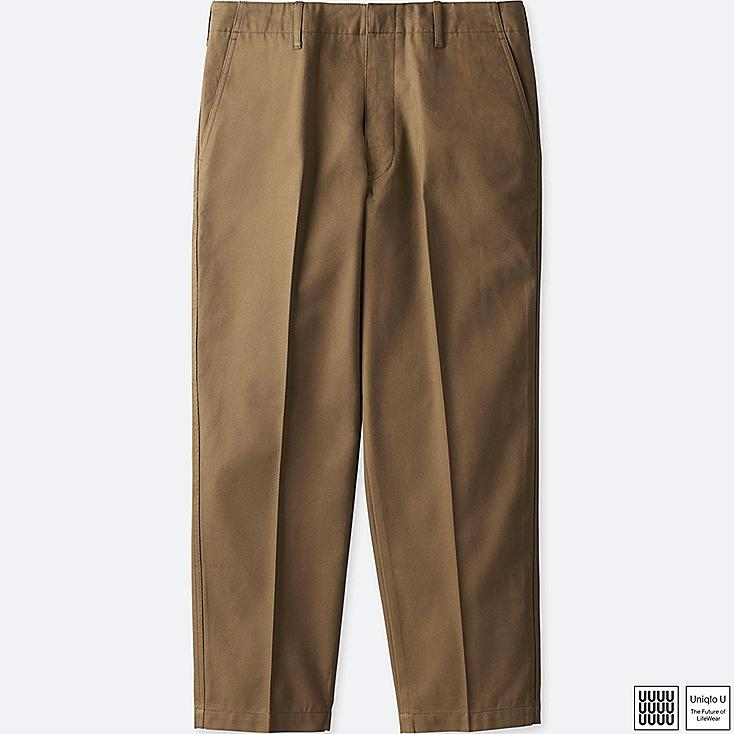 MEN U COTTON TWILL WIDE ANKLE LENGTH PANTS, BROWN, large