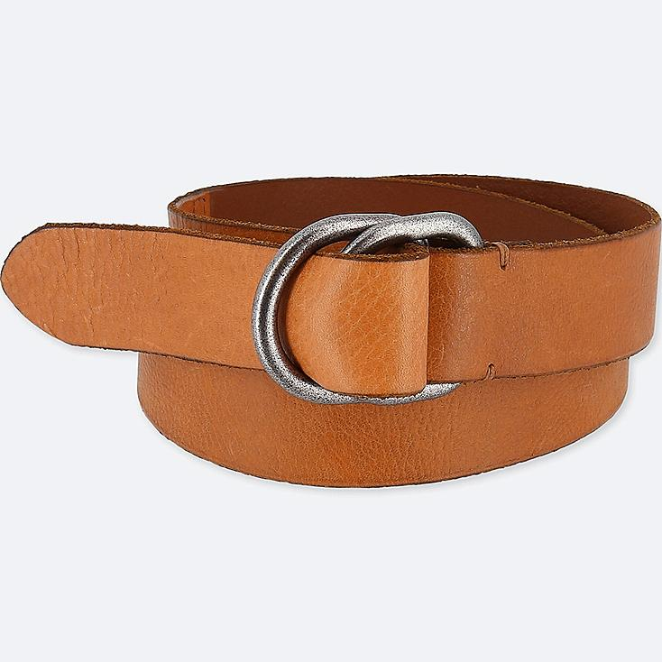 MEN LEATHER DOUBLE RING BELT, BROWN, large