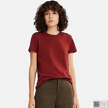 WOMEN U CREWNECK SHORT-SLEEVE T-SHIRT, BROWN, medium