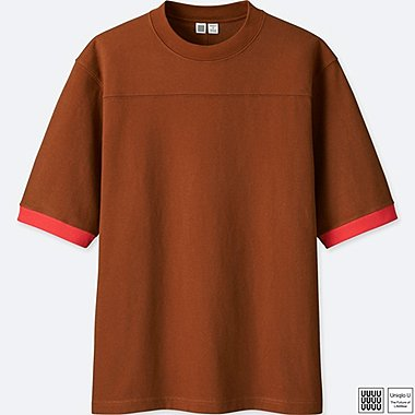 MEN U COLOR BLOCK SHORT-SLEEVE T-SHIRT, BROWN, medium
