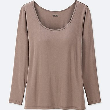 WOMEN HEATTECH BRA SCOOP NECK T-SHIRT, BROWN, medium
