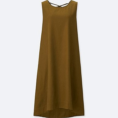 WOMEN LINEN BLEND SLEEVELESS DRESS, BROWN, medium