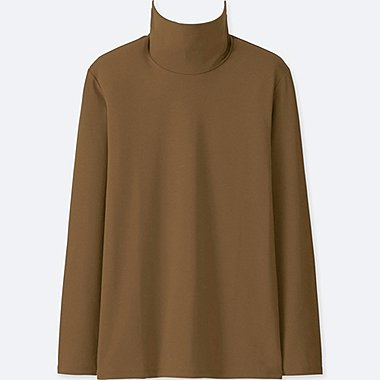 WOMEN COMPACT COTTON TURTLENECK LONG-SLEEVE T-SHIRT, BROWN, medium