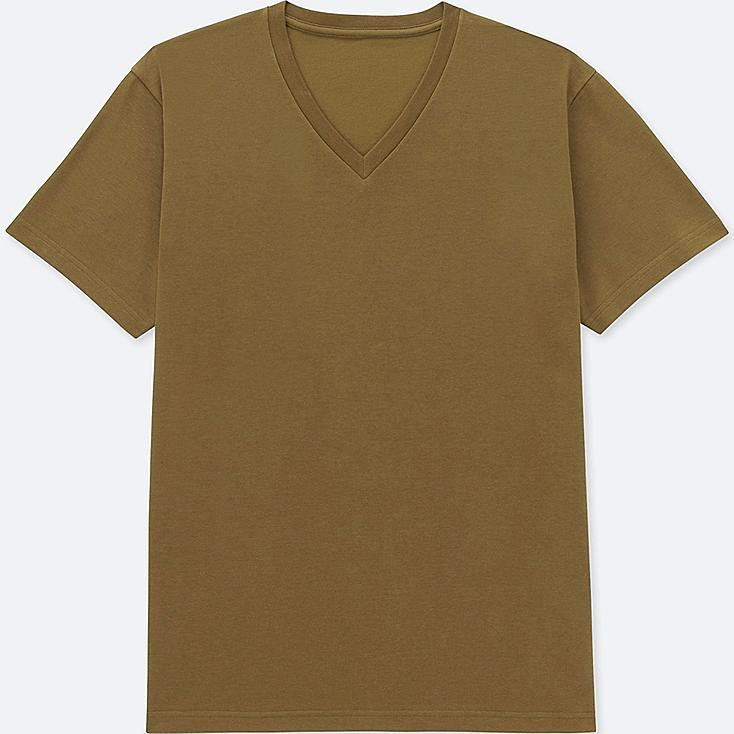 MEN PACKAGED DRY V-NECK SHORT-SLEEVE T-SHIRT, BROWN, large