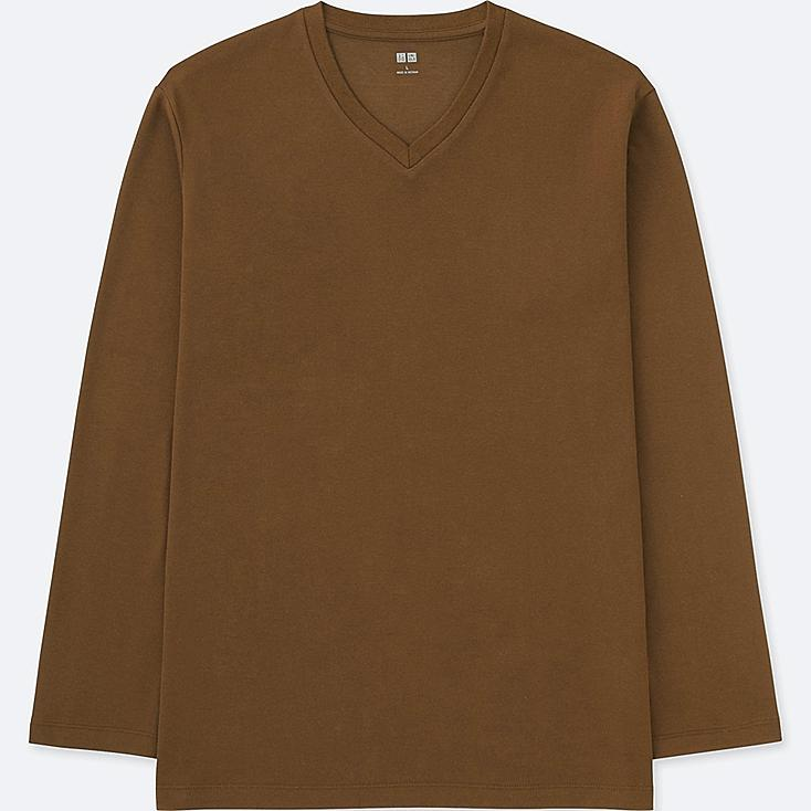 MEN SOFT TOUCH V-NECK LONG-SLEEVE T-SHIRT, BROWN, large