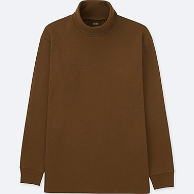 MEN SOFT TOUCH TURTLENECK LONG-SLEEVE T-SHIRT, BROWN, medium