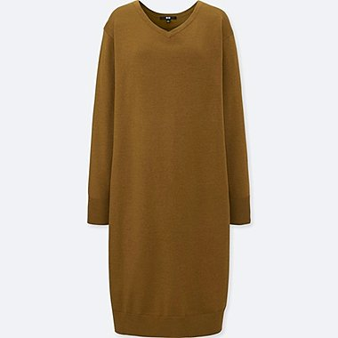 WOMEN MERINO-BLEND V-NECK LONG-SLEEVE DRESS, BROWN, medium