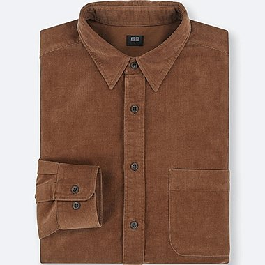 MEN CORDUROY LONG-SLEEVE SHIRT, BROWN, medium