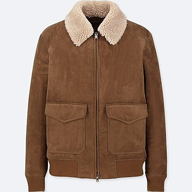 MEN RIBBED BORG COLLAR BLOUSON