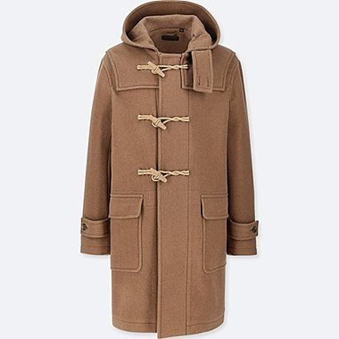 MEN WOOL BLEND HOODED DUFFLE COAT