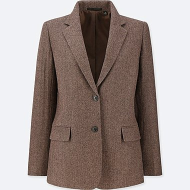 WOMEN TWEED JACKET, BROWN, medium