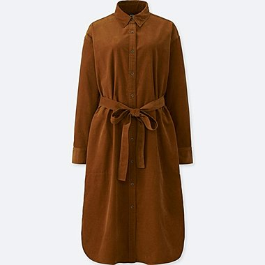 WOMEN CORDUROY LONG-SLEEVE DRESS, BROWN, medium