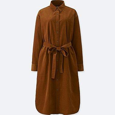 WOMEN CORDUROY LONG SLEEVED SHIRT DRESS