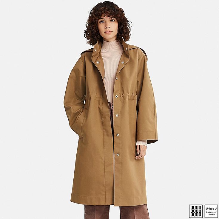 WOMEN U BLOCKTECH COAT, BROWN, large