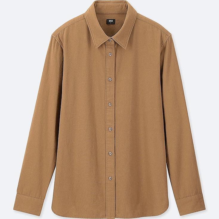 WOMEN Flannel Long Sleeve Shirt, BROWN, large