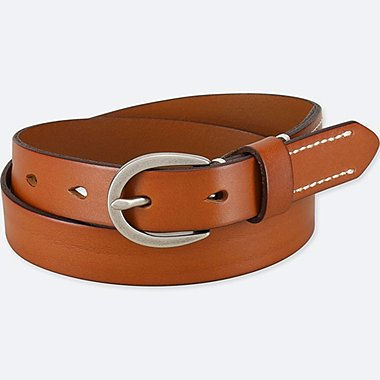 WOMEN STITCHED BELT, BROWN, medium