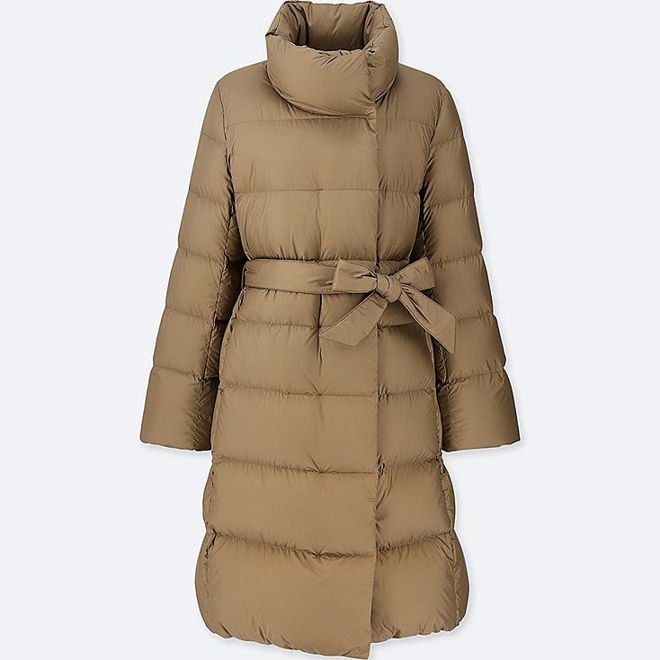 WOMEN LIGHTWEIGHT DOWN STAND COLLAR COAT, BROWN, large