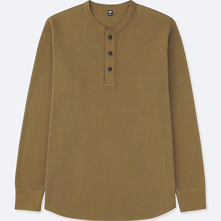 MEN WAFFLE HENLEY NECK LONG-SLEEVE T-SHIRT, BROWN, large