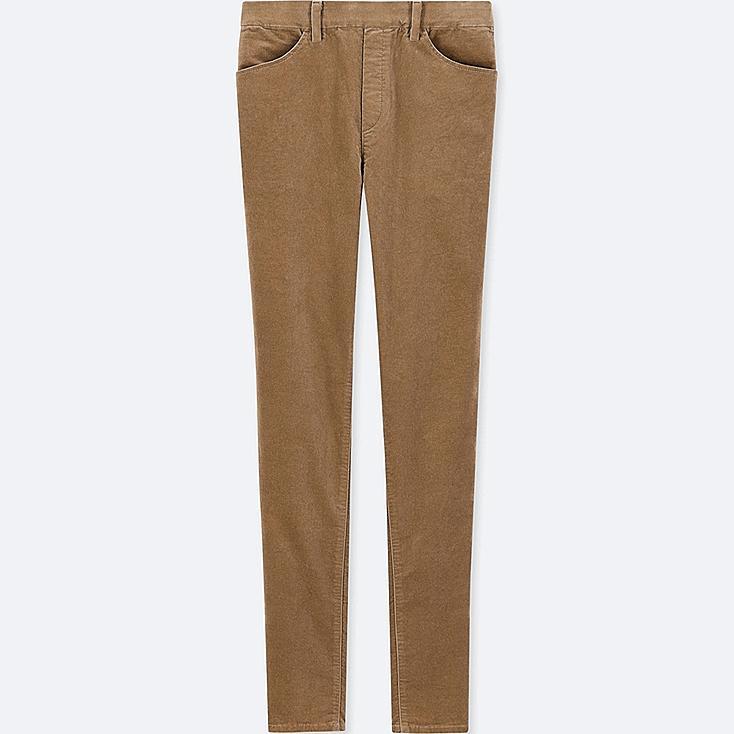 WOMEN HEATTECH HIGH-RISE VELVET LEGGINGS PANTS, BROWN, large