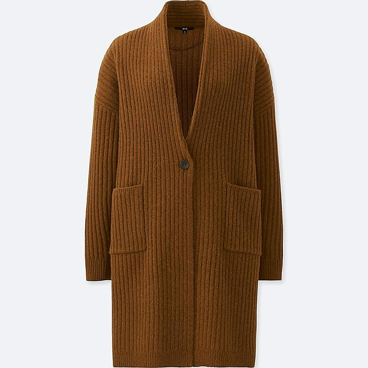 WOMEN WOOL RIBBED KNITTED COAT, BROWN, large