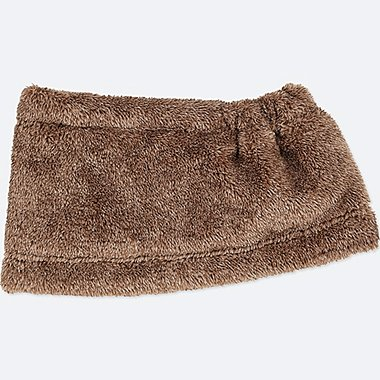 KIDS HEATTECH FLEECE NECK WARMER, BROWN, medium
