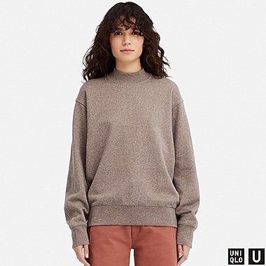 WOMEN U LONG-SLEEVE PULLOVER SWEATSHIRT, BROWN, medium