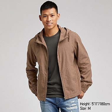 MEN LINEN BLEND ZIPPED HOODED PARKA