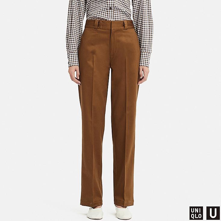 WOMEN U COTTON STRAIGHT PANTS, BROWN, large