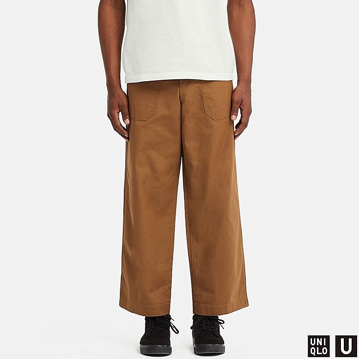 MEN U WIDE STRAIGHT BAKER PANTS, BROWN, large